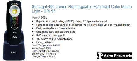Astro 50SL SunLight 400 Lumen Rechargeable Handheld Color Match Light - CRI 97