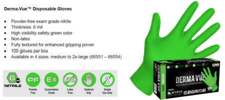 DERMA-VUE GREEN NITRILE �Powder-free exam grade gloves