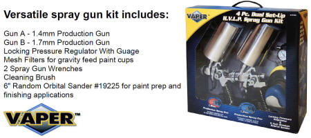 VAPER 19223 4 PC HVLP SPRAY GUN + SANDER